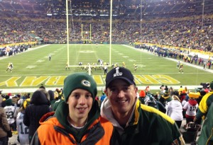 Aiden attends his first-ever Packers game at Lambeau Field